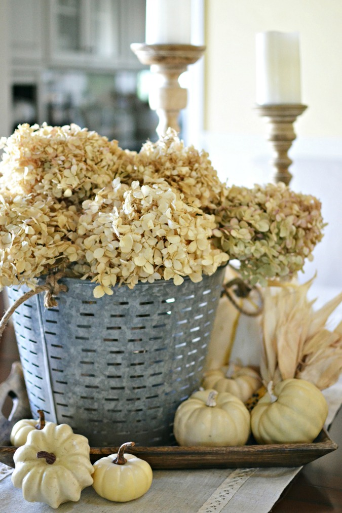 olive bucket fall decorating