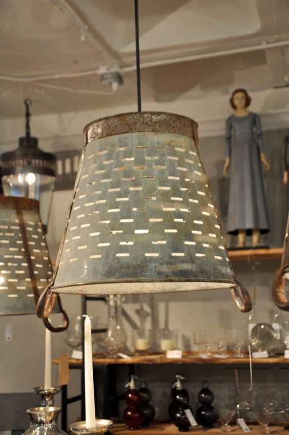 metal olive bucket light