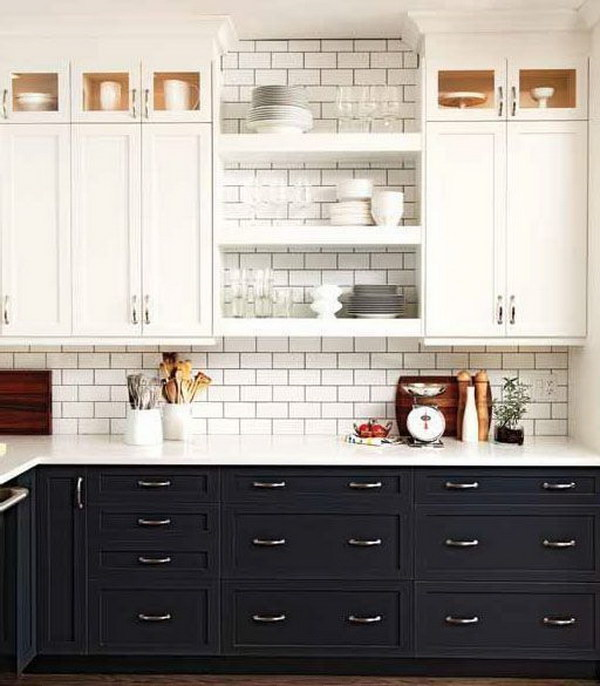 two-toned kitchen cabinets