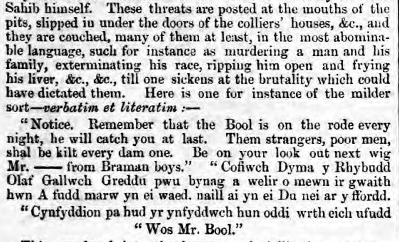 Report in Cardiff and Merthyr Guardian. December 26, 1857