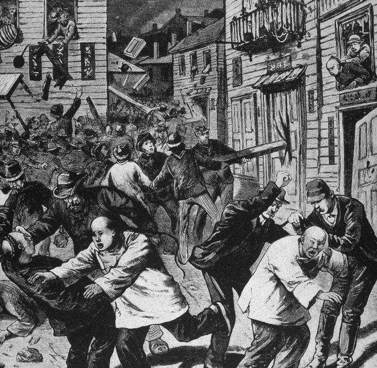 Illustration depicting a violent attack against Chinese laborers, Denver, Colorado, 1880. (Kean Collection/Getty Images) Getty ImagesGetty Images