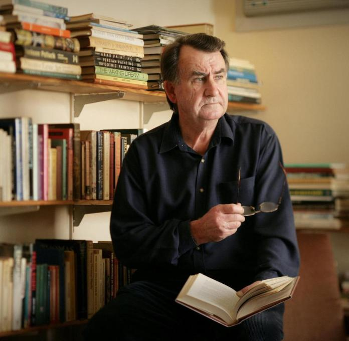 The writer Gerald Murnane in his writing room