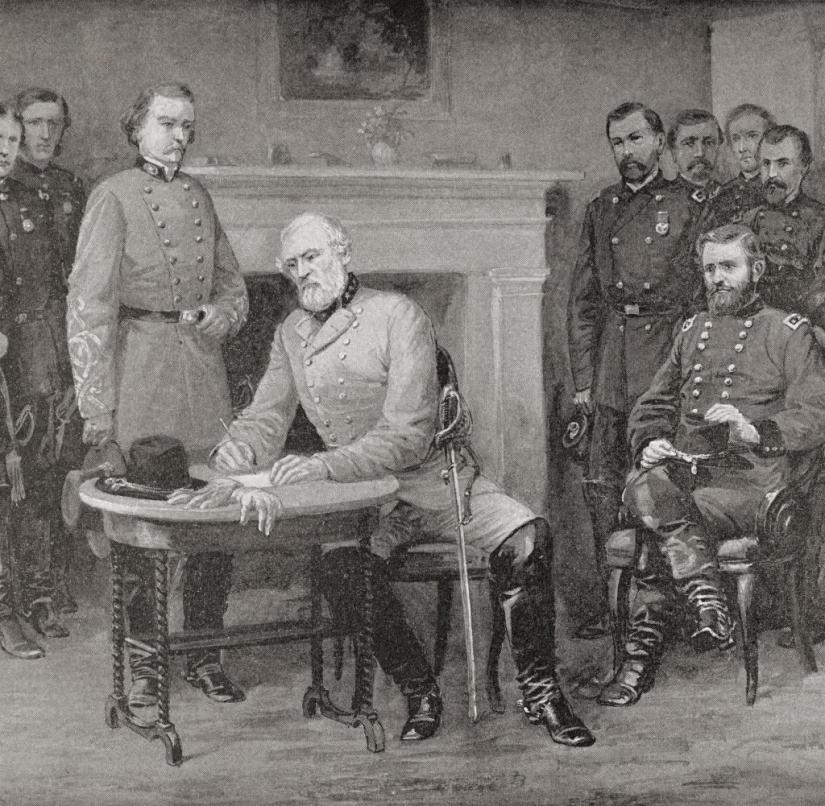 The Surrender Of General Lee To General Grant At Appomattox Courthouse, Virginia, America In 1865, Thereby Ending The American Civil War. From Famous Men And Great Events Of The 19Th Century. (Photo by: Universal History Archive/Universal Images Group via Getty Images)