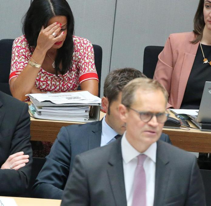 State Secretary Sawsan Chebli follows with tears in her eyes the discussion of the Berlin deputies