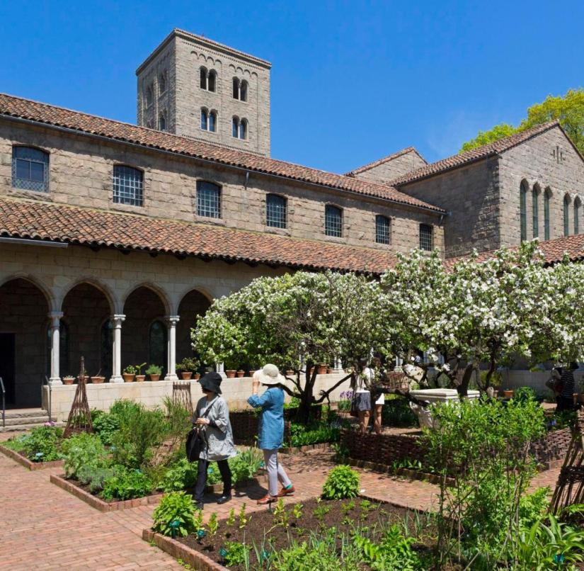 Branch of the Metropolitan Museum of Art: The Cloisters in northern Manhattan (New York) was built with original parts of buildings from French monasteries