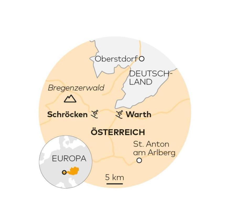Das Skigebiet in Warth-Schröcken in Österreich