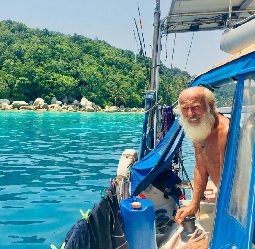 World tour: Wolfgang Clemens on his second boat - meanwhile graying, but enterprising as always