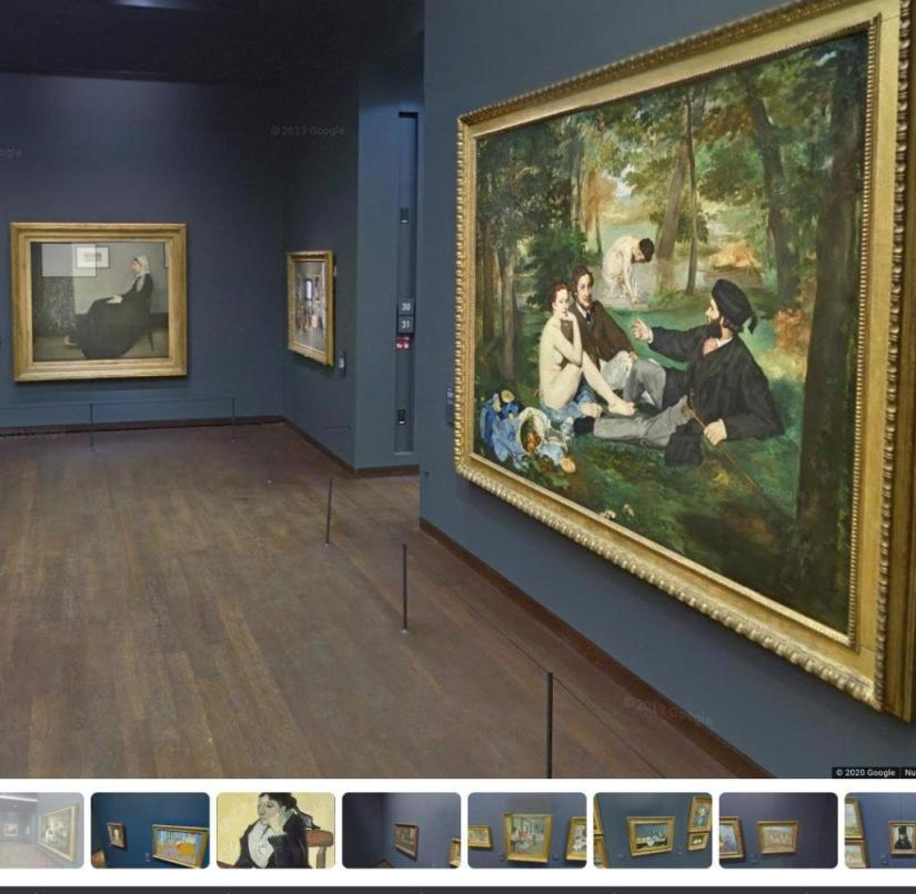 "A virtual visit to the Musée d'Orsay in Paris also leads viewers to Édouard Manet's ""Breakfast in the Green"" (right)"