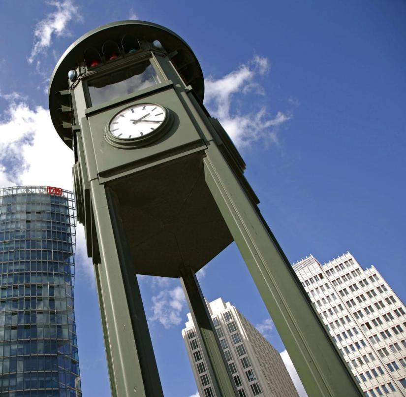 Berlin - the traffic light at Potsdamer Platz