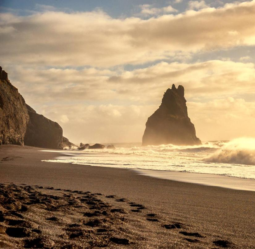 Reynisfjara Beach in Iceland proves that there are spectacular beaches not only in southern Europe.  The beach consists of black lava, basalt columns and rock formations make this place unique