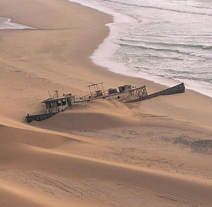 Hundreds of wrecks rust away on the Skeleton Coast in the north of Namibia