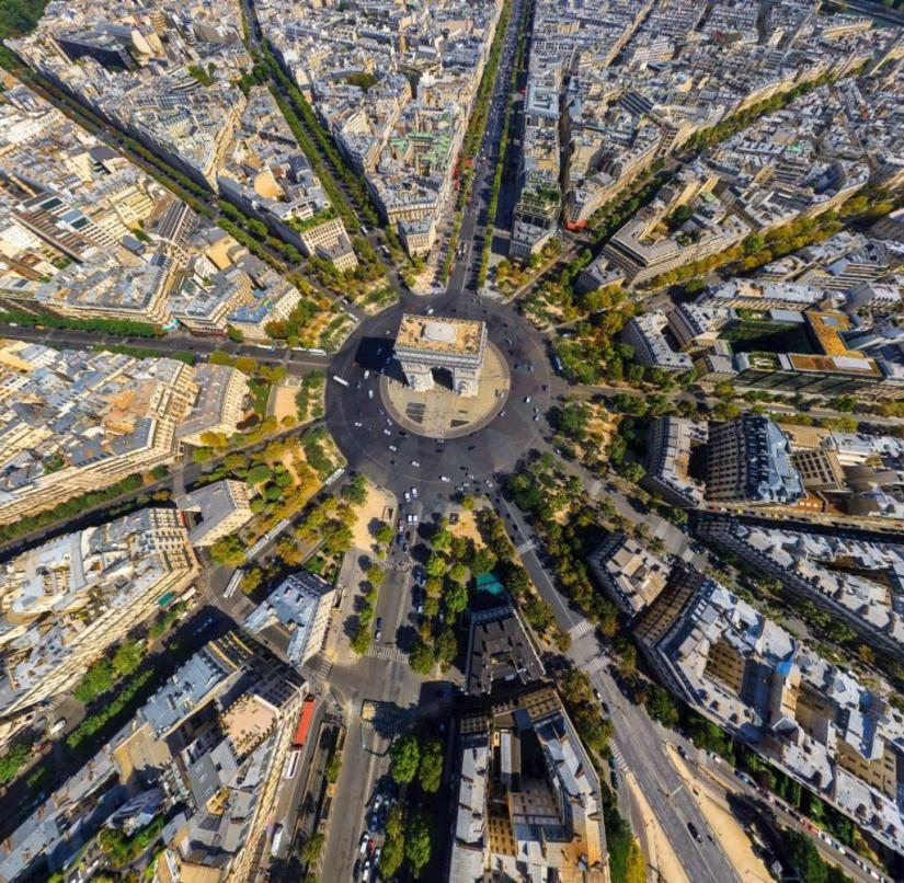 The boulevards start in a star shape from the Arc de Triomphe in Paris