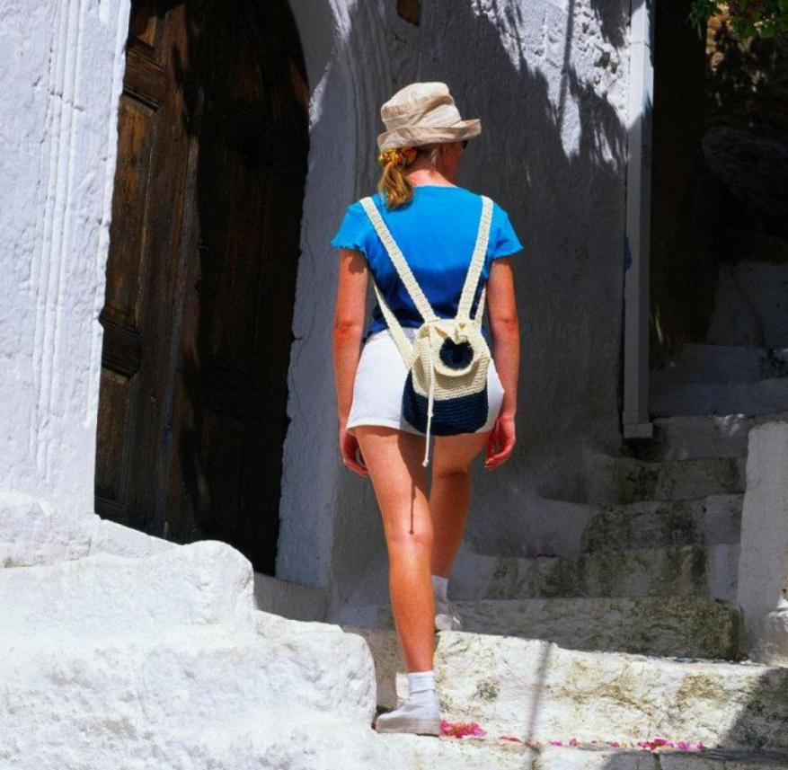 Holidaymaker in Lindos on the island of Rhodes (Greece)