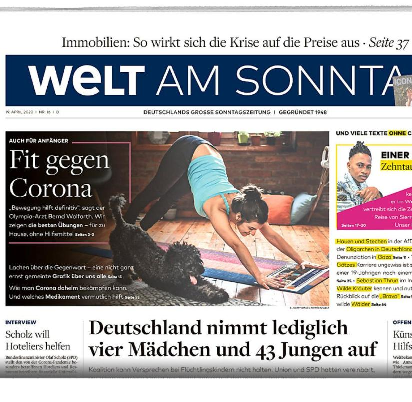 WELT AM SONNTAG from April 19, 2020