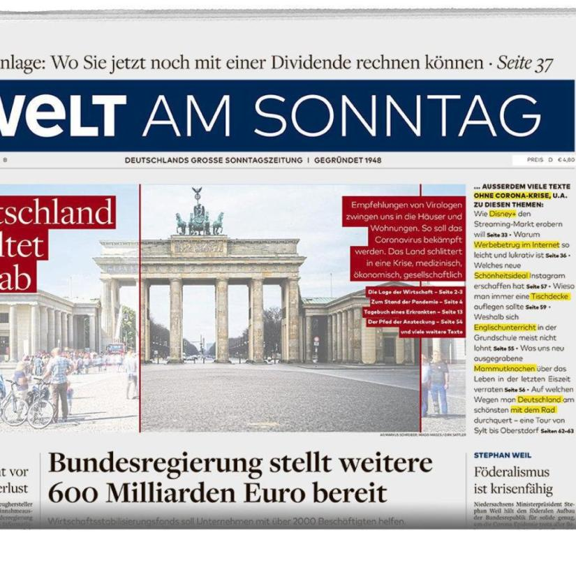WELT AM SONNTAG from March 22, 2020
