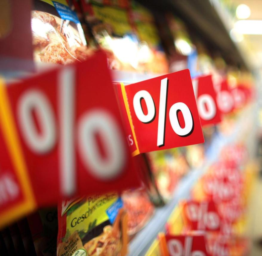 Many supermarket shelves are full of red price reduction labels
