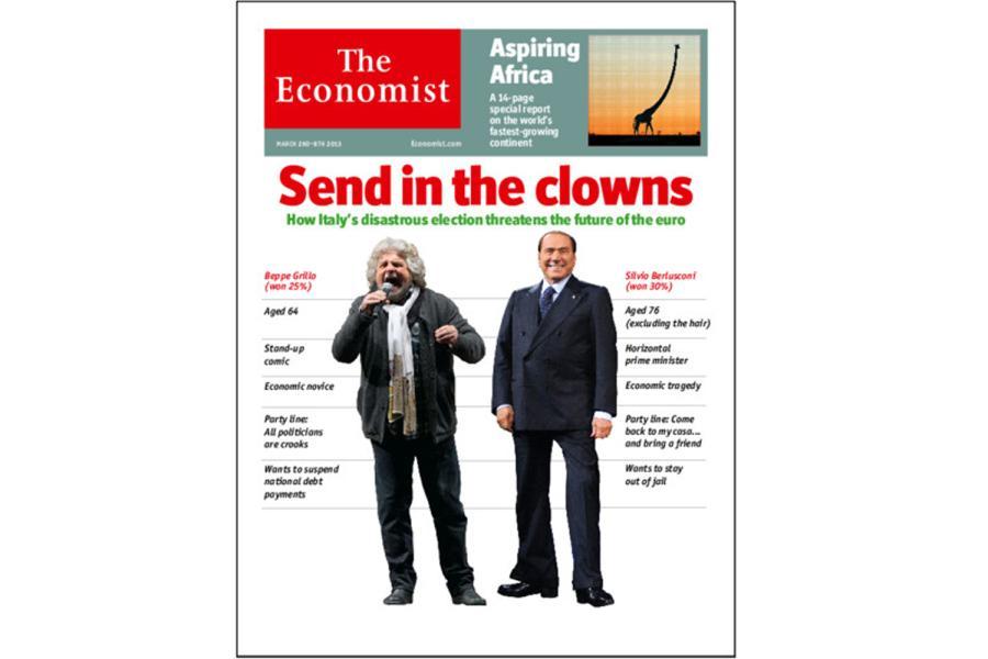 """Der """"Economist"""" betitelt die Wahl in Italien mit Steinbrücks Clown-Vergleich"""
