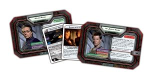 Charakterkarten, Krisenkarten und Loyalitätskarten von Battlestar Galactica - Das Brettspiel. Rechte bei Fantasy Flight Games und Heidelberger Spieleverlag