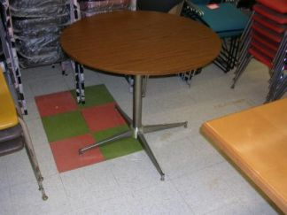 """36"""" Round Steelcase Walnut Top Table - Used"""