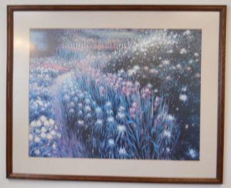Art Print 12 - Flowers with Path - Dark Oak Frame - Used