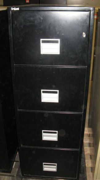 4-Drawer Fireguard Black Legal Size Fireproof File - Used
