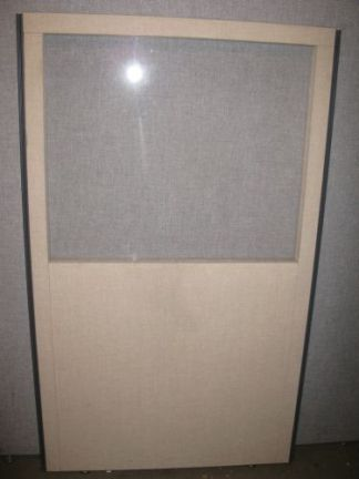 "Beige Fabric w/ Charcoal Trim 60"" Tall Panels with Glass - Used"