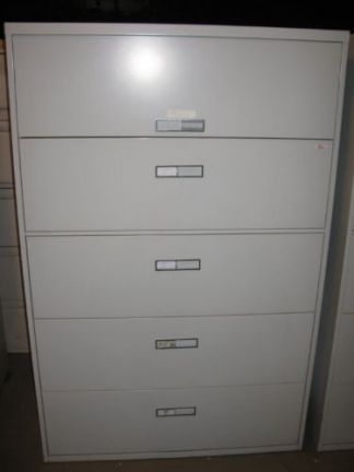 "5-Drawer Steelcase 42"" Wide Lt. Gray Lateral Files - Used"