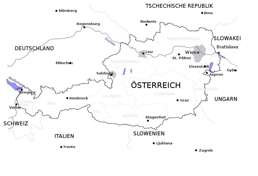 Landkarte Oesterreich Karte Stdte