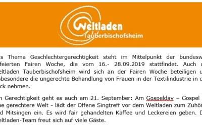 Informationen zur Fairen Woche und zum Gospelday
