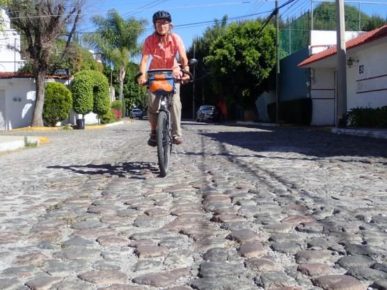 Nicht fahrradgerechte Anliegerstraße in Puebla
