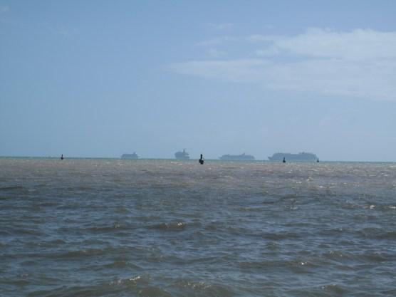 da draußen lauern die Kreuzfahrtschiffe