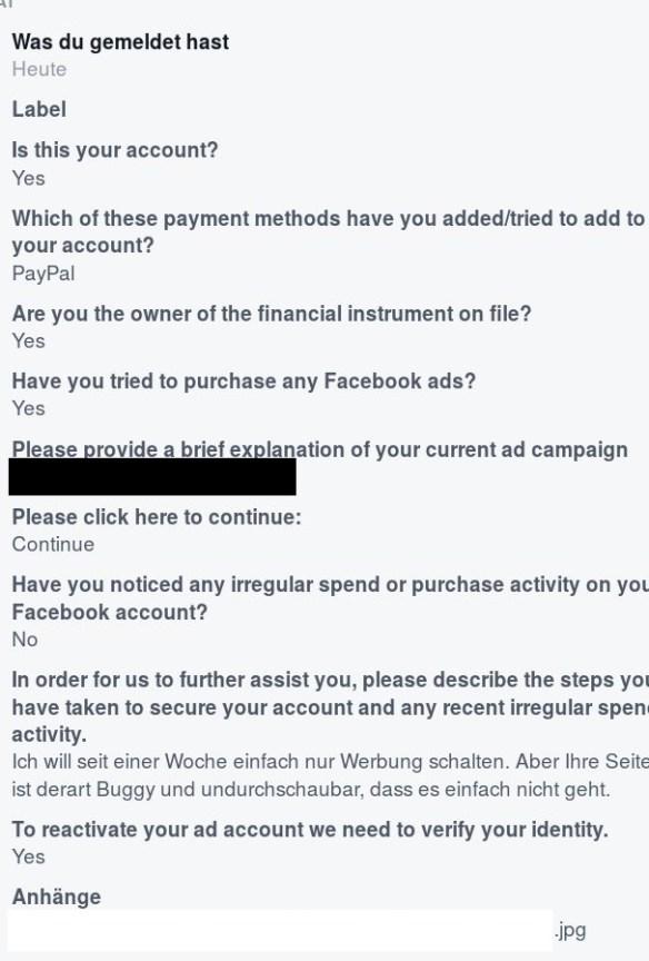 facebook supportanfrage anonymisiert