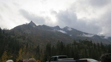 """Our last stop: the Snow Creek trailhead parking lot, with a view of the """"Sleeping Lady"""" ridge line. The 1994 wildfires swept the east slope of the Icicle valley."""