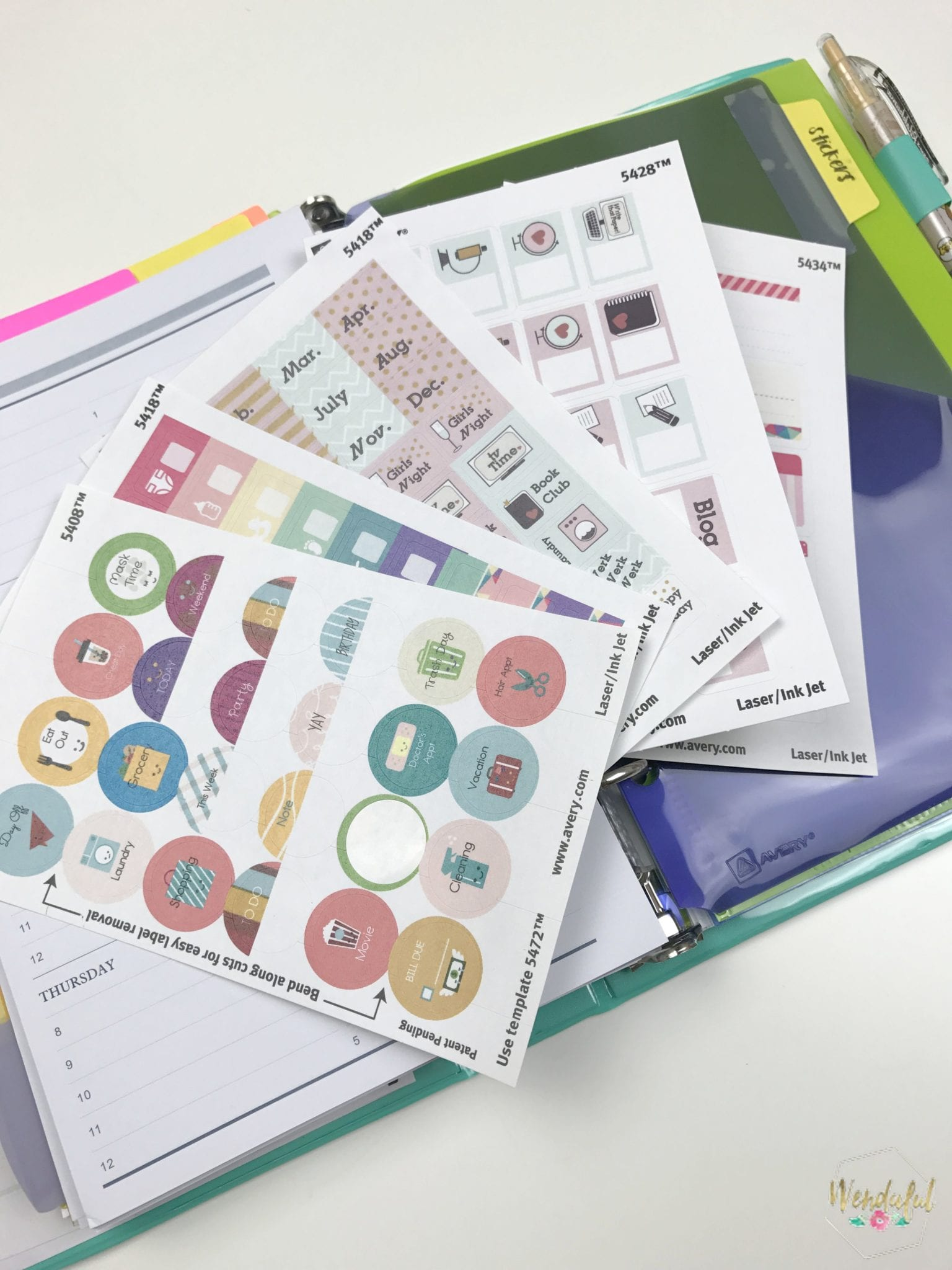 You can also check my other avery stickers posts on my blog. I designed  daily stickers, fun circle stickers & water trackers as well.