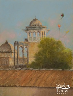 Flying kites, Palace roof, Poshina, Gujarat