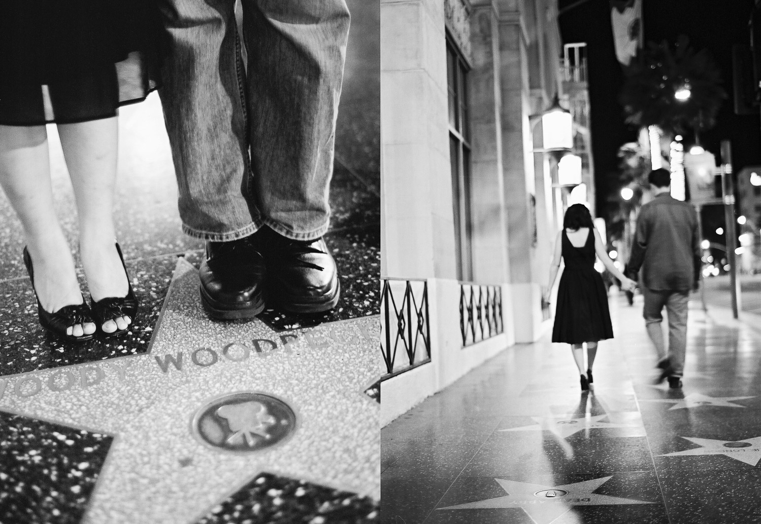 engaged couple walking on holloywood blvd in Los Angeles by Wendy G Photography