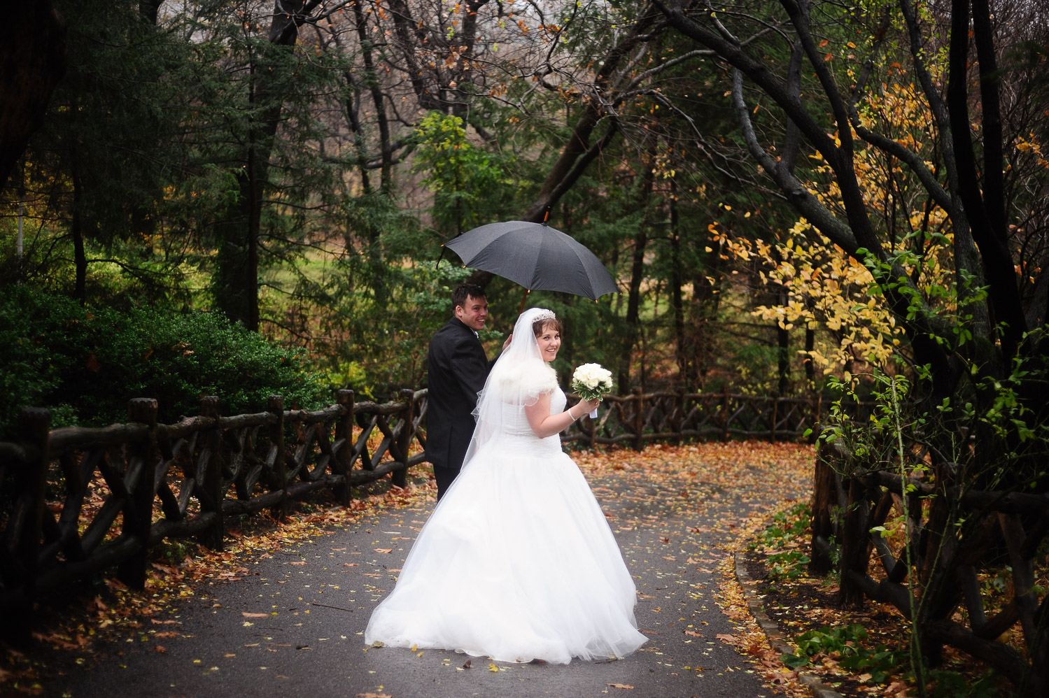 nyc belvedere castle mini wedding photo of couple with umbrella by wendy g photography
