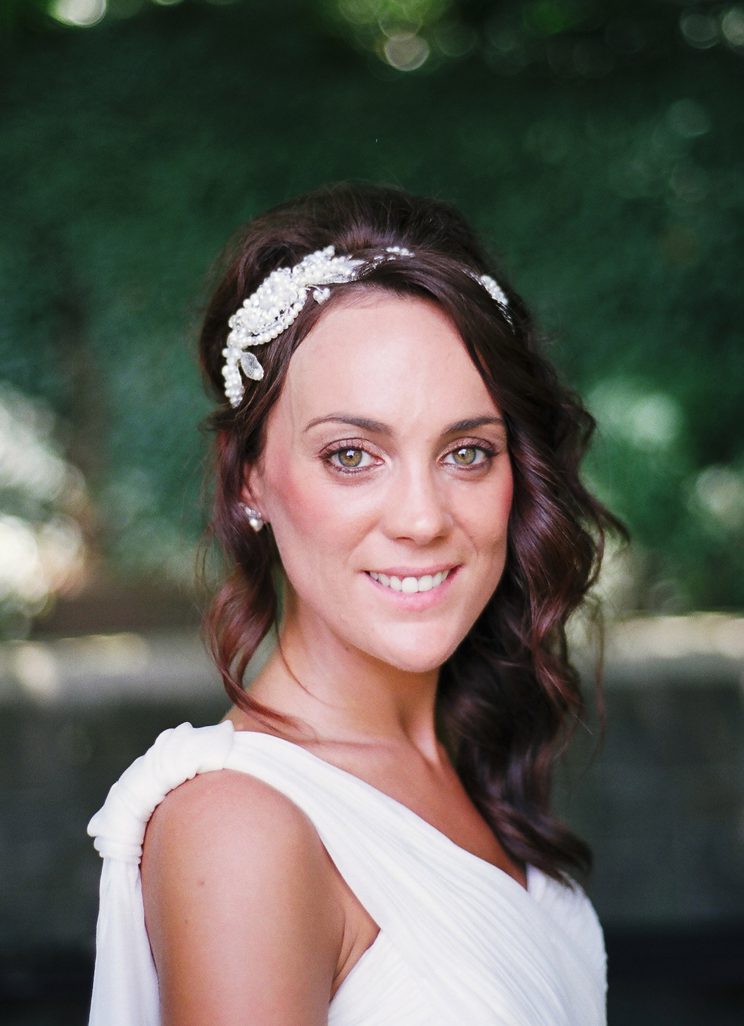 nyc conservatory garden mini wedding photo of bride smiling by wendy g photography