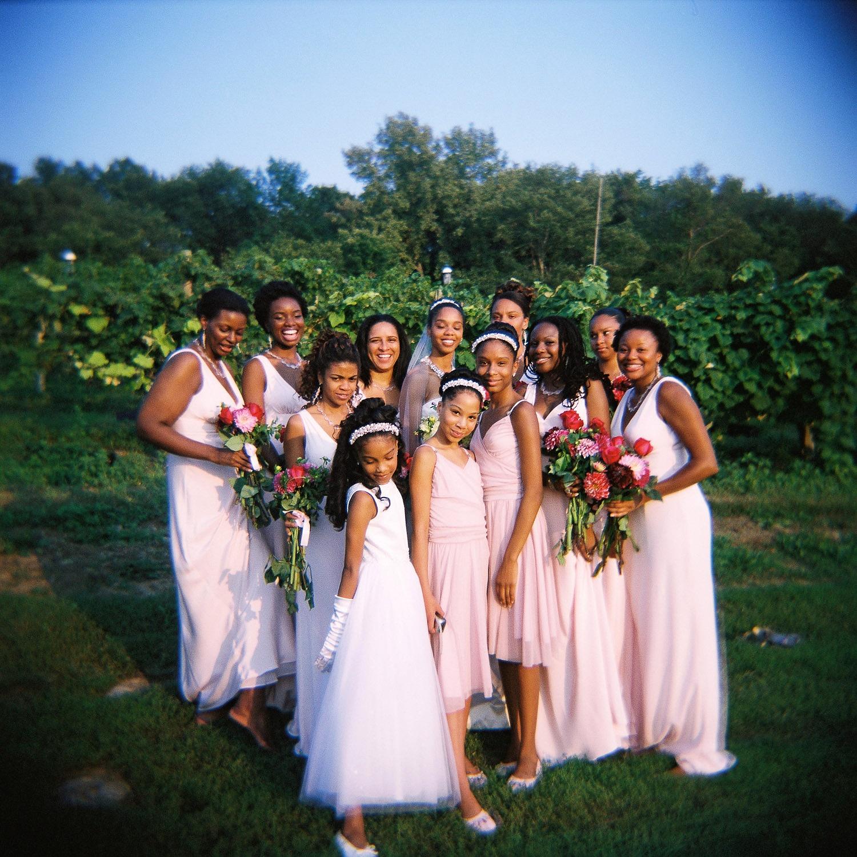 holga portrait of bridesmaids taken by nyc wedding photographer wendy g