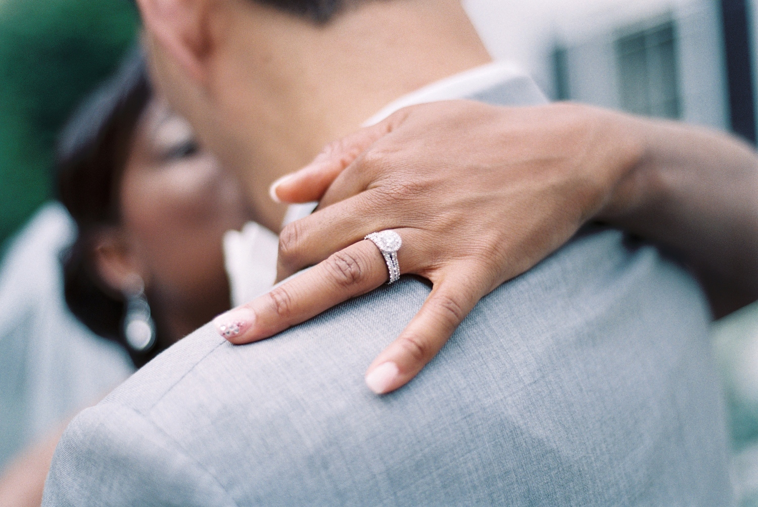 interracial wedding couple kissing taken by nyc wedding photographer wendy g