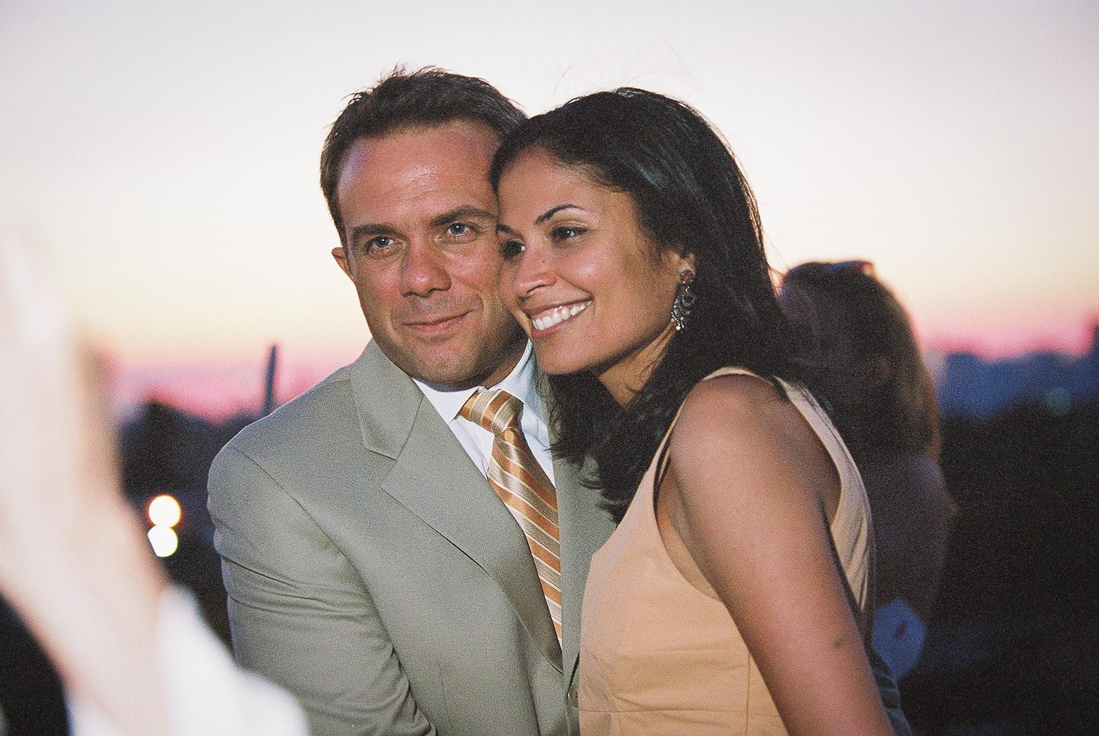 wedding guests at rooftop brooklyn wedding