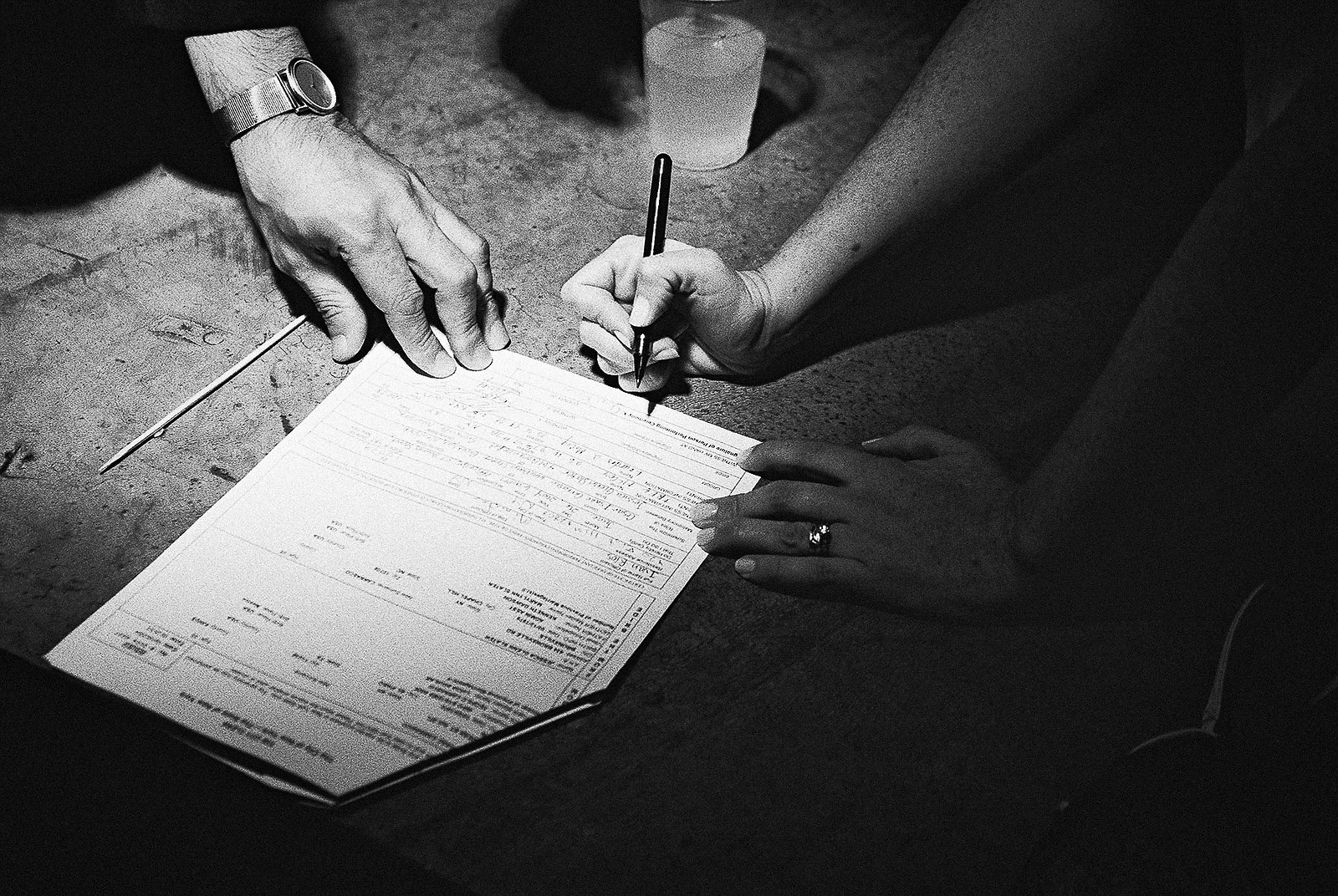 signing marriage license office ops