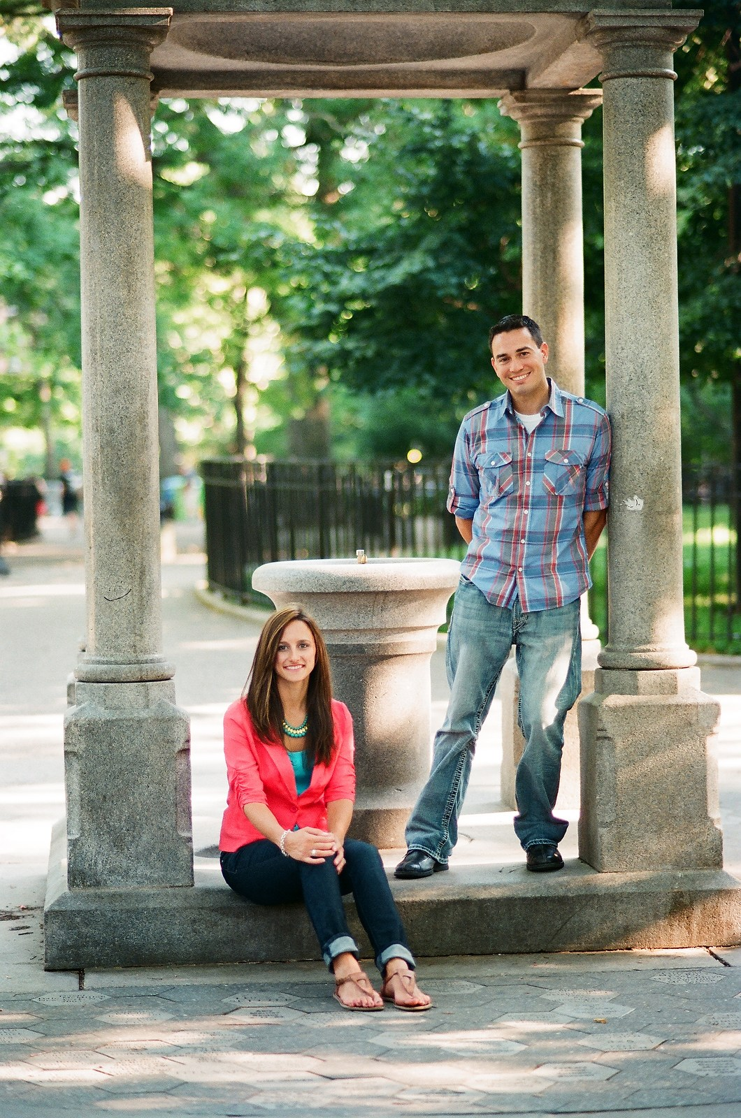 couple posing in tompkins square park nyc
