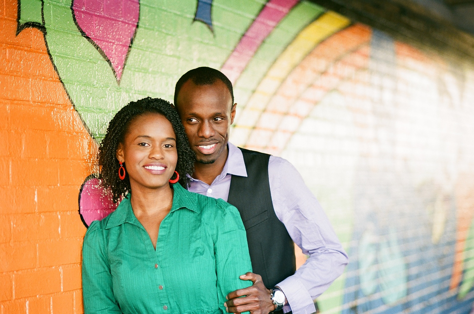 engaged couple in meatpacking district colorful graffiti
