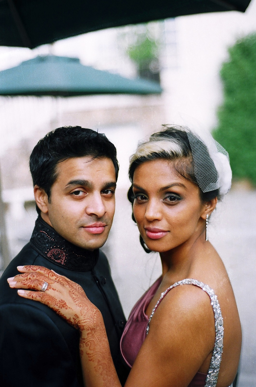 indian wedding couple in chic outfits
