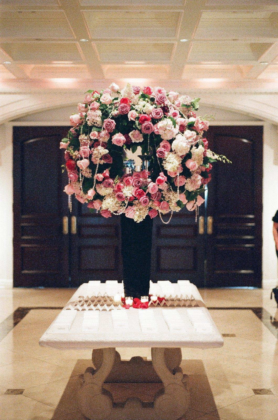 new jersey indian wedding tall floral arrangement