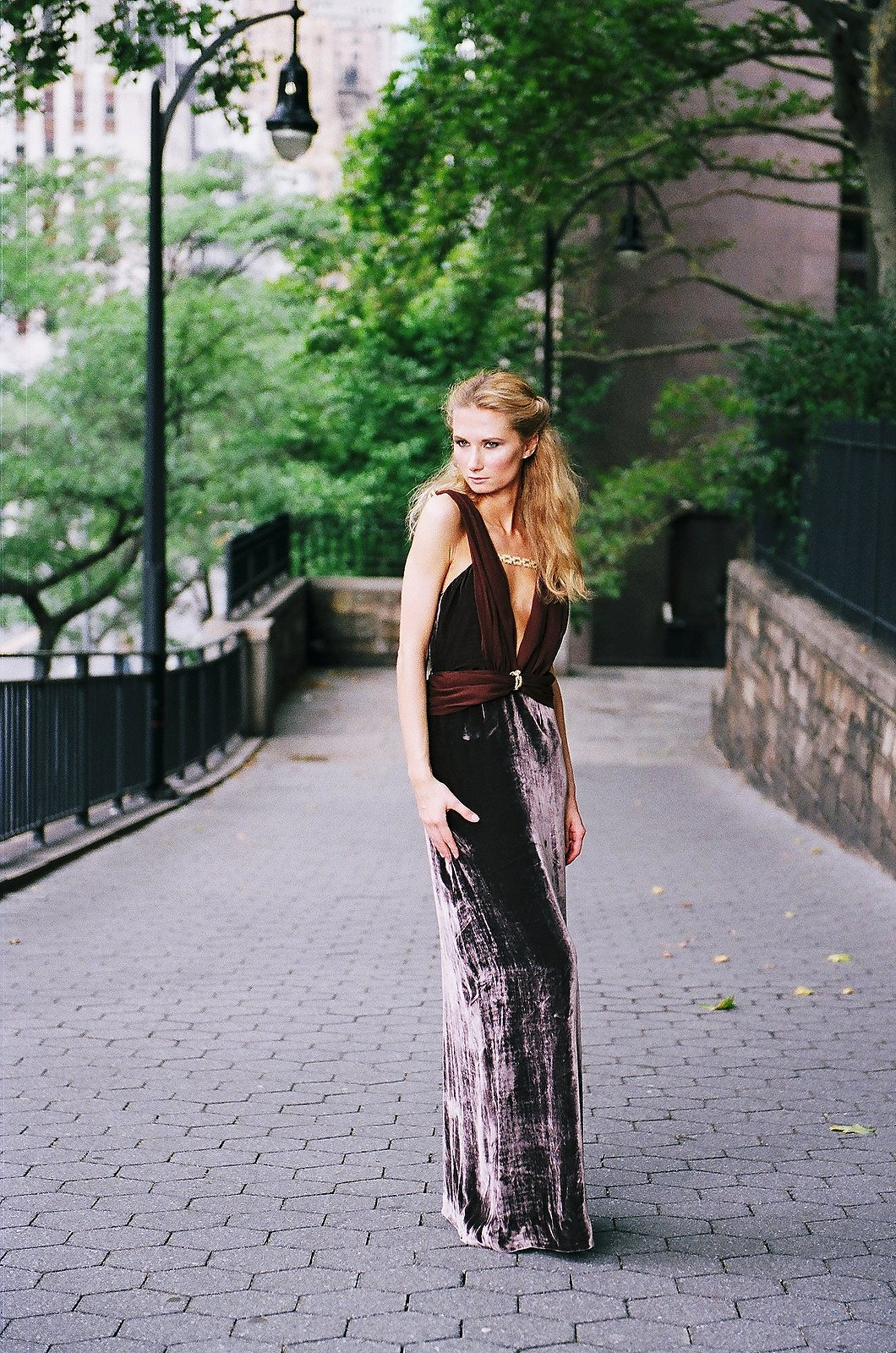 long gown in chocolate brown