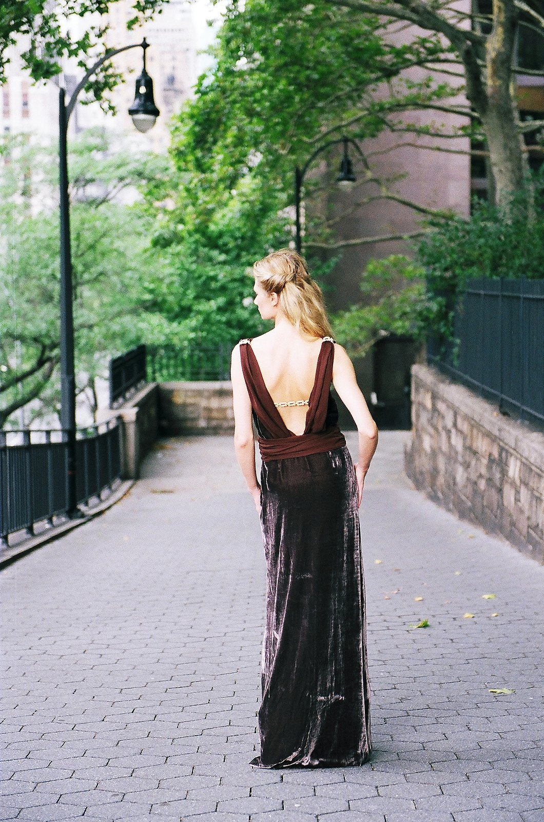 bridesmaid in long brown velvet dress