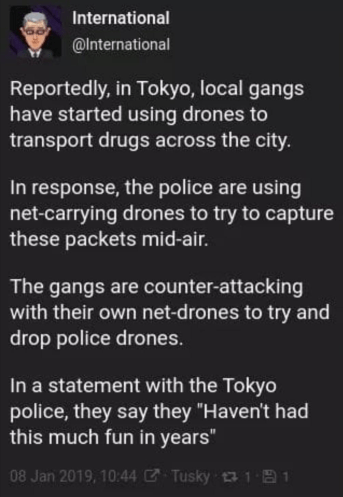 Twitter post about Tokyo Police and drones