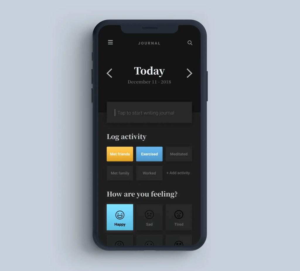 Journaling App UI design mockup